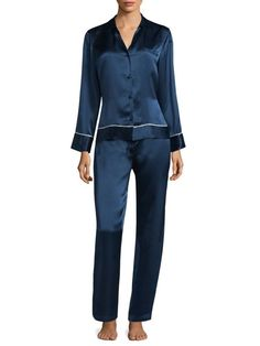 f969f70280c28 JOSIE NATORI $395 NWT KEY ESSENTIALS PJ SET 100% Silk In Blue Spruce Pajamas  Pjs