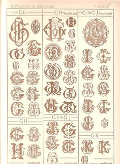 1884 Antique G Monograms Page  Letter Style by UncommonEye on Etsy
