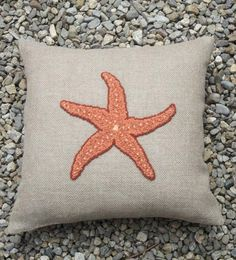 Coral Starfish Pillow by Woolettes