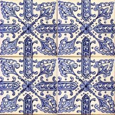 ¤ Great panel of white and blue Antique Tiles - 16th Century Spanish -  E-15-31