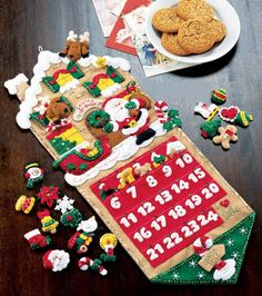 Bucilla Felt Applique Advent Calendar Kit, 11 by 86541 Santa's Toy Shop Christmas Stocking Kits, Christmas Countdown, Felt Christmas, All Things Christmas, Christmas Stockings, Christmas Crafts, Christmas Decorations, Felt Advent Calendar, Advent Calendars For Kids