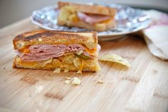 Grilled Ham Cheese Pickle and Potato Chip Sandwich