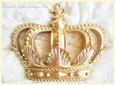 Gold Fleur De Lis Bed Crown Canopy Set by sweetlilboutique on Etsy