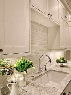 white dove is a great colour for kitchen cabinets, trim, doors and walls #Kitchen #Decor #Ideas