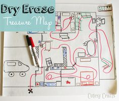 DIY Dry Erase Treasure Map - The house floor plan is permanent, and you draw an erasable line! Easy Crafts To Sell, Crafts For Kids, Daycare Crafts, Mason Jar Crafts, Mason Jar Diy, Treasure Maps For Kids, Small Craft Rooms, Diy Outdoor Weddings, Bullet Journal Key