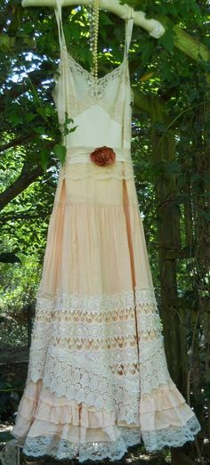 RESERVED for erica rodola  Peach lace  dress tiered cotton vintage  cream boho slip rose  medium by vintage opulence on Etsy