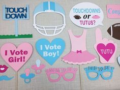 Touchdowns or Tutus Gender Reveal Photo Booth Props. #GenderReveal #TouchdownsOrTutus #BabyShowerIdeas
