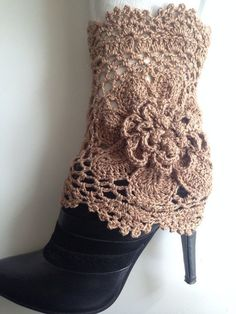 Crochet Cream Gold Sparkle Boot Cuffs with Flower, Leg Warmers, Spring Fashion…