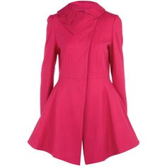 Fuschia fit flare dress coat