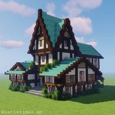 Casa Medieval Minecraft, Art Minecraft, Minecraft Building Guide, Minecraft Mansion, Minecraft Cottage, Minecraft Structures, Minecraft Banners, Cute Minecraft Houses, Minecraft Plans