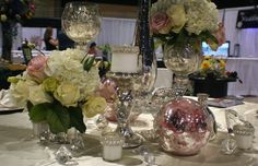 Glitz and glam inspiration with Champaigne linen, mercury and soft pink hues. Hydrangeas and roses