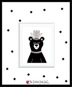 Tribal Bear with Feathers on head by thetickledpinkfox on Etsy Tribal Bear, Cute Poster, Feathers, Posters, Unique Jewelry, Handmade Gifts, Illustration, Cards, Etsy