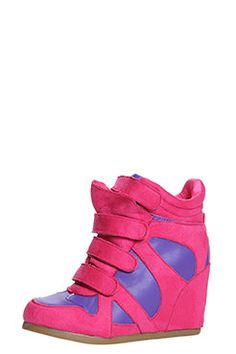 Jasmine Fuchsia Suedette Hi Top Wedge - just the pow a outfit needs && they lengthen your leg - double whammy!! <3