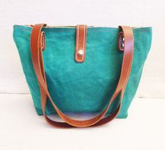 OTTOBAGS Green Waxed Canvas Tote - Leather Double Strap Shoulder bag / Tote Bag $49.00