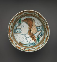 "Circa 1480-1500 ~ Likely Montelupo ~ The Metropolitan Museum of Art ~ This is an early example of the Belle donne (""beautiful women"") ceramics popular throughout the Renaissance. They were probably made as amorous gifts, although it is difficult to know if they are really portraits of individuals. Because of the imagery of this bowl it may refer to Lucrezia de'Medici, the daughter of Lorenzo the Magnificent (whose birthtray is displayed in this gallery), born in 1470."