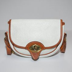 665c673327db Vintage Dooney and Bourke Calvary White and Tan All Weather Leather Handbag  Crossbody Purse on Etsy