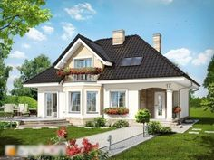Haus in der Avocado - Sicht 1 - # Hausdesign - haus design - House Construction Plan, Modern Bungalow House, House Design Pictures, 2 Bedroom House Plans, Small Cottage Homes, Prefabricated Houses, House With Porch, Facade House, Home Design Plans