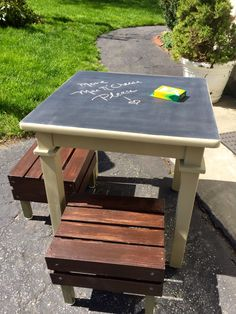 Child's play table from old end table and crates!