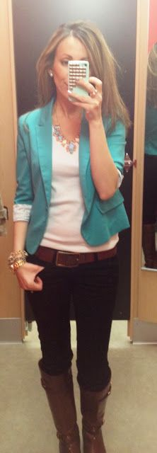 teal blazer, white top, brown belt, black skinny jeans, lucky boots