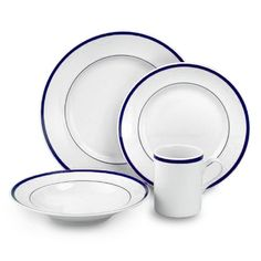 Brasserie Blue-Banded Porcelain Dinnerware Collection