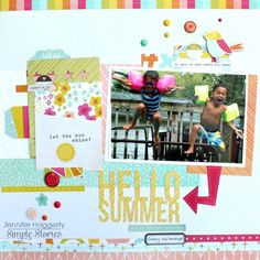 Hello+Summer - Simple Stories using the Sunshine and Happiness collection Love Scrapbook, Vintage Scrapbook, Wedding Scrapbook, Scrapbook Pages, Scrapbook Layouts, Scrapbooking Ideas, Blue Chalk Paint, Crackle Painting, Have A Great Night