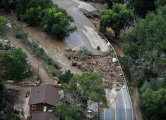 Big Thompson River flood damage to Highway 34 is pictured along the east edge of the Big Thompson Canyon west of Loveland Friday September 13, 2013.