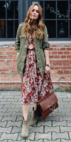 Midi Dress Outfit, Floral Dress Outfits, Red Floral Dress, Winter Dress Outfits, Fall Winter Outfits, Autumn Winter Fashion, Dresses, Utility Jacket Outfit, Green Jacket Outfit