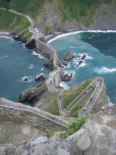 This beautiful staircase is located on the island Gaztelugatxe in Spain. Gaztelugatxe is a tiny islet on the coast of Biscay belonging to the municipality of Bermeo, in Basque Country (Spain). - via arbolande, Flickr