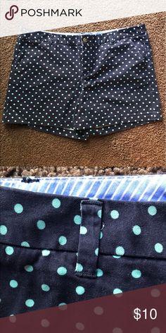 Navy Blue Shorts Navy Blue with Aqua Polkadots, 100% Cotton, NEVER WORN. Merona Shorts Jean Shorts