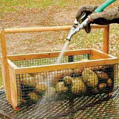 A beautiful and functional garden harvest basket allows you to rinse vegetables (or eggs!) immediately after gathering. garden diy how to build DIY Plans: Build a Garden Harvest Basket - Farm and Garden - GRIT Magazine Veg Garden, Garden Types, Vegetable Gardening, Garden Basket, Harvest Garden, Chicken Garden, Potager Garden, Bali Garden, Garden Farm