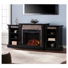 Shop for Copper Grove Hay River Black Faux Stone Electric Fireplace with Bookcases. Get free delivery On EVERYTHING* Overstock - Your Online Home Decor Outlet Store! Get in rewards with Club O! Faux Stone Electric Fireplace, Electric Fireplace Insert, Electric Fireplaces, Indoor Fireplaces, Living Room Electric Fireplace, Fireplace Shelves, Fireplace Inserts, Black Fireplace, Small Fireplace