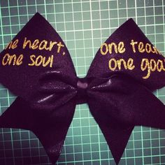 "3"" black and gold one heart, one soul, one team, one goal bow on Etsy, $16.76"