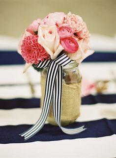Mason jar bouquets via southern weddings