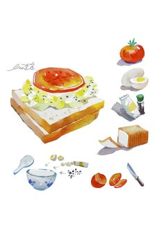 Egg Salad Sandwich - painted by watercolor