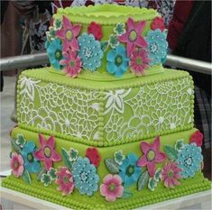 really cute bright green cake with lots of fun detailing / piping Gorgeous Cakes, Pretty Cakes, Amazing Cakes, 16 Birthday Cake, Birthday Cakes For Teens, 16th Birthday, Bird Cakes, Cupcake Cakes, Cupcakes