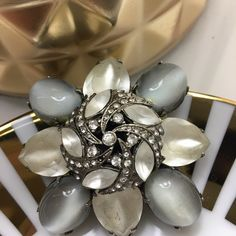 Graziano Brooch Statement pin that dress up any outfit , crystals  set on gunmetal setting Graziano Jewelry Brooches