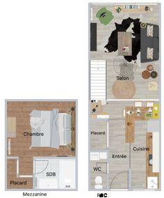Repenser l'espace, ouvrir la cuisine pour faire entrer la lumière et la convivialité, et fermer la mezzanine par une demi cloison pour préserver l'intimité de la chambre Decoration, Floor Plans, Close Up, Walk In, Mezzanine, Outer Space, Bedroom, Projects, Kitchens
