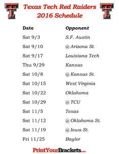 Print Texas Tech Red Raiders Season Schedules in . List of University of Texas Tech Red Raiders Football Match Ups and games. Who do the Texas Tech Red Raiders Play Texas Tech Football, Fall Football, Raiders Football, Raiders Fans, Texas Tech Red Raiders, Football Season, Team Schedule, Louisiana Tech, Texas Tech University
