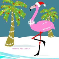 happy holidays flamingo with santa hat boots tropical christmas pink christmas - Flamingo Christmas