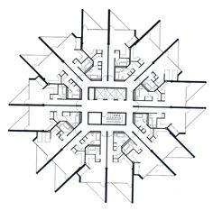 Paul Rudolph - Beirut Urban Complex - Tower Typical One Bedroom Floor Plan