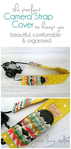 Feeling disorganized  and sore during a photo shoot? This is the perfect camera strap cover to keep you looking fresh, feeling comfortable and completely organized! | by Janie Lane Studio