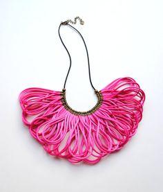 Hot Pink Satin Cords Bib Necklace Statement by elfinadesign