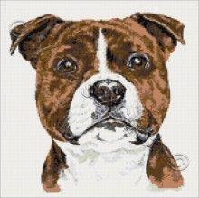Staffordshire Bull terrier cross stitch kit
