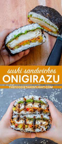 Sushi Rice Recipes, Vegetarian Recipes, Healthy Recipes, Sushi Rice Rolls Recipe, Rice Sandwich Recipe, Vegan Sushi Rolls, Vegan Sandwiches, Vegetable Recipes, Tempura