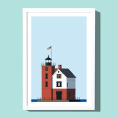 Round Island Lighthouse art print, by Roo Kee Roo.