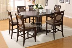 A.M.B. Furniture & Design :: Dining room furniture :: Counter Height dining sets :: 5 Pc. Evelyn II Dark Walnut Wood Finish Contemporary Style Design Counter Height Table Set