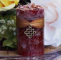 NINE SACRED WOODS Pillar Candle w/ Bronze by ArtisanWitchcrafts