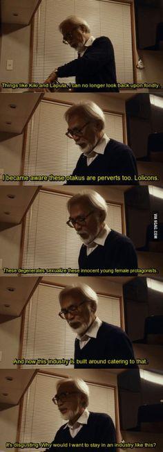 Hayao Miyazaki on Otakus and fanservice. I love this man!