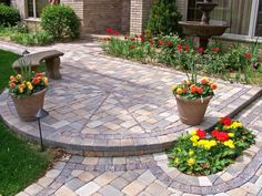 decorate a walkway | Pretty Flowers Decorating Idea Mixed With Stoned Walkway Design Plus ...