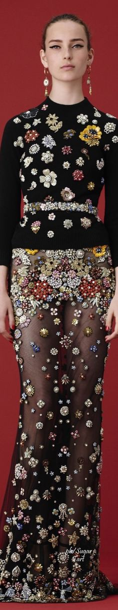 Alexander McQueen Resort 2016. This ensemble has an amazing embellishment - many items of vintage brooches etc! Curleytop1.